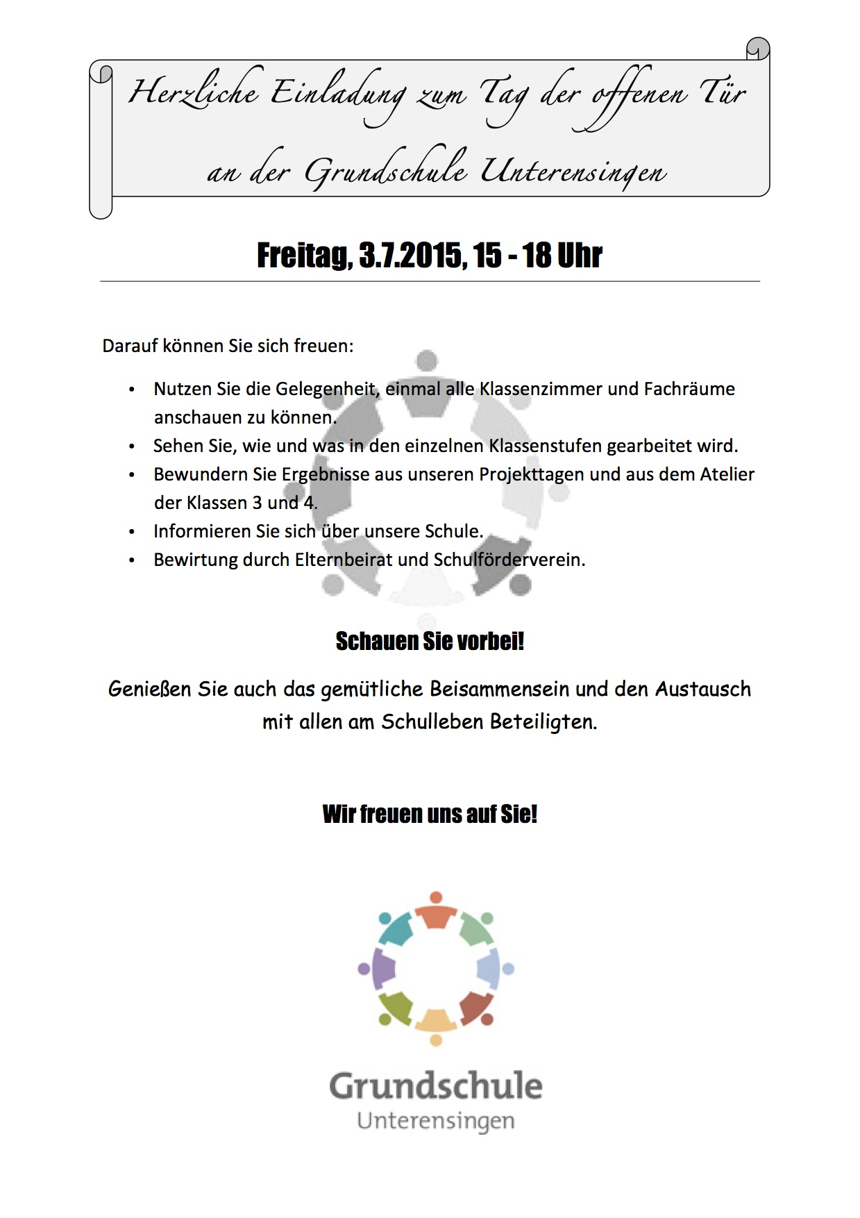 einladung zum tag der offenen tür @ website der grundschule, Einladung